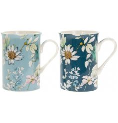 An assortment of blue toned mugs, each featuring a beautiful 'Daisy Meadow' inspired decal