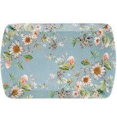 A blue toned serving tray featuring a beautiful 'Daisy Meadow' inspired decal