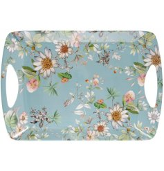 this blue toned serving tray will be sure to add a Spring feel to any kitchen side