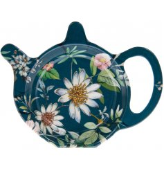 A blue toned teabag tidy featuring a beautiful 'Daisy Meadow' inspired decal