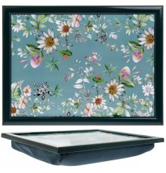A cushioned based lap tray featuring a beautiful 'Daisy Meadow' inspired decal