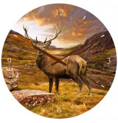 Woodland Stag Clock   Bring the wilderness to your home with this beautifully printed wall clock