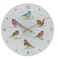 A charming wall clock featuring a watercolour inspired bird decal