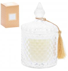 A luxury designed ridged glass candle pot complete with an added decorative tassel and matching gift box