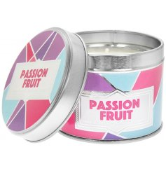 this small candle tin is filled with a fruity and tropical inspired Passion Fruit wax