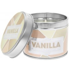 Covered with a quirky beige geometric decal, this small candle tin is filled with a sickly sweet Vanilla Honey wax