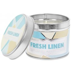 Filled with a crisp Fresh Linen scented wax, this small candle tin is bursting at the brim with a delightful aroma