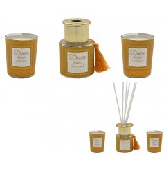 This scented set produces a delicious Salted Caramel inspired aroma when in use