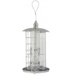 A charming Bird Feeder featuring a 3 way tube spacing for assortments of seeds and nuts