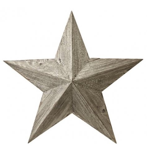A large, five point wooden barn star with a distressed and white washed finish.
