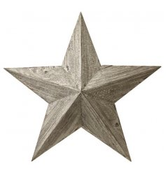 A rustic wooden barn star with a distressed, white washed finish. An on trend item for the home.