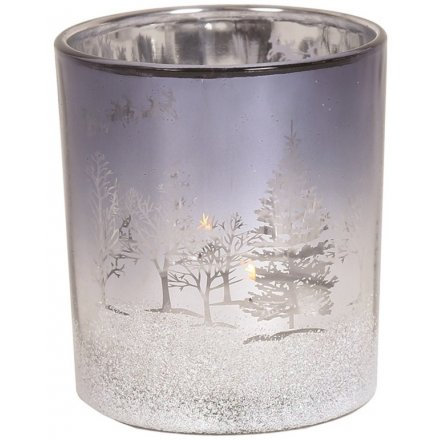 Metallic Silver Christmas Tlight Holder