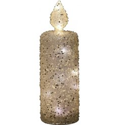 this tall flameless LED candle will be sure to bring a glitzy feel to any space of the home