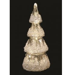 A gorgeous high pointed tree decoration set with a mercury splash effect and dazzling sprinkle of sequins