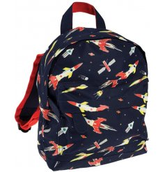 A quirky backpack for children, covered in a cool space age themed print