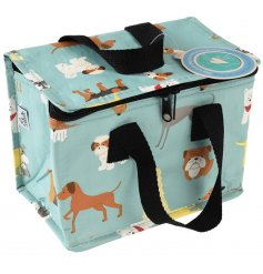 A light blue toned lunch bag that features an insulated centre and quirky dog doodle print on the outside