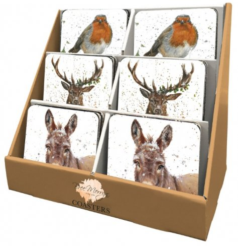 Beautifully illustrated robin, stag and donkey coasters by the talented Bree Merryn. Complete with display stand.