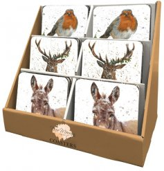 Iconic Christmas animals in snowy scenes are the perfect decoration for these festive coasters designed by Bree Merryn