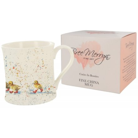 'Wait For Me', a playful Bree Merryn scene of ducks in wellies is the charming decoration for this fine china mug