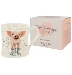 A gorgeous Bree Merryn scene of Penelope the Piglet in wellies is the delightful decoration for this fine china mug