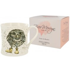 A sweet Bree Merryn scene of a Oakley the Little Owl in workboots is the charming decoration for this fine china mug.