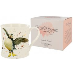 A whimsical Bree Merryn scene of Presley the Puffin in wellies is the fabulous decoration for this fine china mug