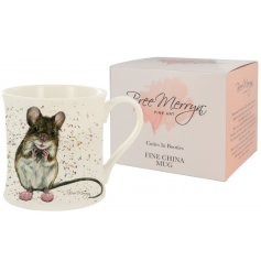 A charming Bree Merryn scene of Mimi the Mouse in fluffy slippers is the decoration for this fine china mug