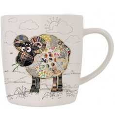 Raymond Ram china mug is part of the Kooks range of giftware from Bug Art - a cute patchwork ram on a white mug