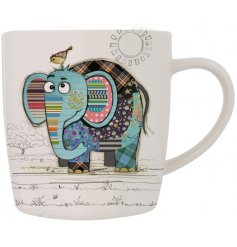Eric Elephant china mug is part of the Kooks range of giftware from Bug Art - a cute patchwork elephant on a white mug