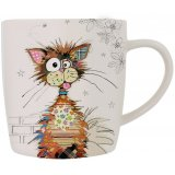 Ziggy Cat china mug is part of the Kooks range of giftware from Bug Art - a cute patchwork cat on a white mug