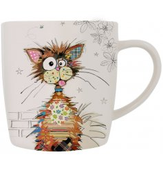 From Bug Art's Kooks range, the Ziggy Cat fine china mug has a beautiful patchwork design cat on a delicate white mug