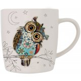Owen Owl china mug is part of the Kooks range of giftware from Bug Art - a cute patchwork owl on a white mug
