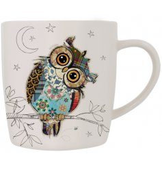 From Bug Art's Kooks range, the Owen Owl fine china mug has a beautiful patchwork design owl on a delicate white mug