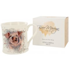 Designed by Bree Merryn, the Patrick the Pig fine china mug is part of the Down At The Farm range of giftware