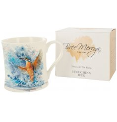 Designed by Bree Merryn, the Colourful Kingfisher fine china mug is part of the Down At The Farm range of giftware