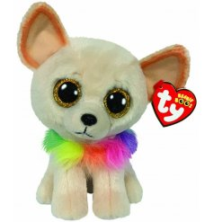 A soft and snuggly dog soft toy soft toy, complete with wide gazing yellow glittery eyes and a multicoloured mane