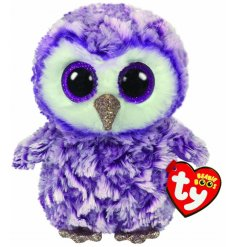 A soft and snuggly purple coloured owl soft toy, complete with wide gazing purple glittery eyes