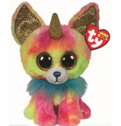 This is Yips, a super fluffy, colourful and sparkly Chihuahua Soft Toy from the Beanie Boo Horned Range!