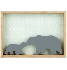 A sweet and simple wooden plaque featuring a silhouette momma and baby bear decal with a cute scripted text decal behin