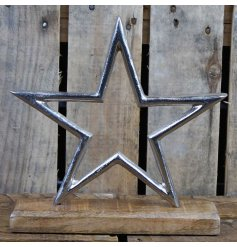 Large Open design Rustic Aluminium Star Ornament with chunky wooden base