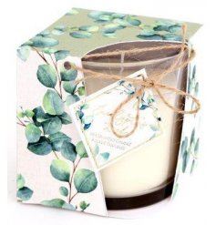 A sweetly scented wax candle complete with a pretty packaged open box