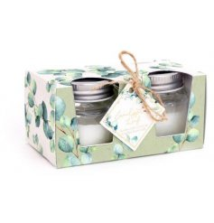 A set of 3 mini sized mason jar candle pots, each filled with a sweetly scented wax centre