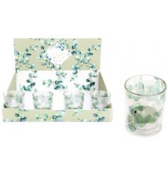 Glass Votive tealight holder containing scented tealight.
