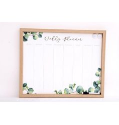 Weekly Wall Planner with wipe clean, magnetic surface, decorated with Eucalyptus print.
