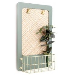 Eucalyptus design clip frame with attached basket, about 38.5 cm high