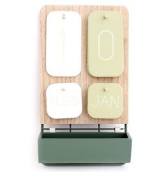 Wooden Wall Calendar with attached tray, part of the Eucalyptus range