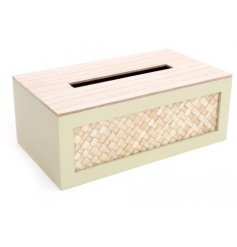 Wooden tissue box measuring 25 x 14 cm from the Eucalyptus range of homewares.