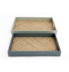 Two wooden trays that can be stored one inside the other, lined with woven rattan