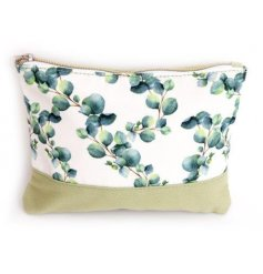 Canvas make up bag 22 cm long, decorated with Eucalyptus print fabric