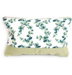 Large canvas toiletry bag decorated with Eucalyptus leaf print fabric, approx 36 cm long